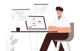 jovem programador trabalha em um laptop na mesa em que o homem escreve o código do programa e o script para a web vetor