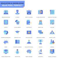 Conjunto simples de educação e conhecimento plano ícones para site e aplicativos móveis vetor