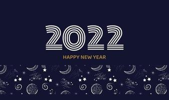 cartão postal ou banner horizontal feliz ano novo 2022 na cor azul escuro com vetor de fundo do espaço