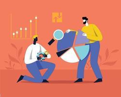 conceito de ilustração vetorial de trabalho em equipe análise de dados vetor