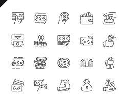 Conjunto simples dinheiro linha ícones para o site e aplicativos móveis. vetor