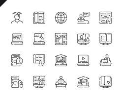 Conjunto simples linha educação on-line ícones para o site e aplicativos móveis. vetor