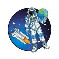 astronauta levantando planeta Terra no personagem espaço vetor