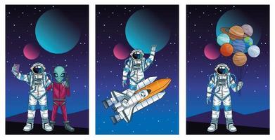 grupo de astronautas no espaço personagens vetor