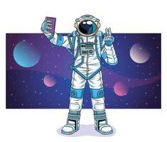 astronauta tirando uma selfie no personagem do espaço vetor