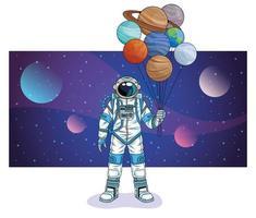 astronauta com planetas no personagem espacial vetor