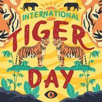 design do dia internacional do tigre vetor