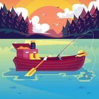 paisagem do lago do barco com equipamento de pesca vetor
