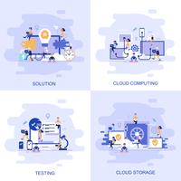 Bandeira de web moderno conceito plana de testes, solução, computação em nuvem e armazenamento em nuvem com caráter de pessoas pequenas decorados. vetor
