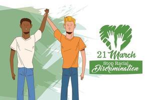 pôster do dia internacional pare o racismo com personagens masculinos inter-raciais vetor
