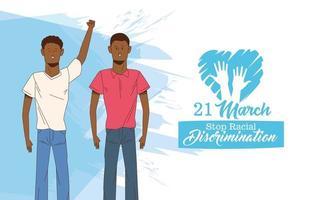 pôster do dia internacional pare o racismo com casal de homens afro vetor