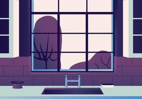 Design de vetor de vista de janela de cozinha