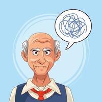paciente idoso com doença de Alzheimer com rabisco em balão de fala vetor
