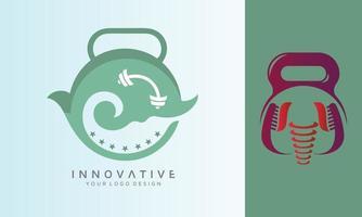 design de logotipo de vetor fitness dental e mar