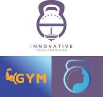 conjunto de design de logotipo de vetor de ginásio e mente