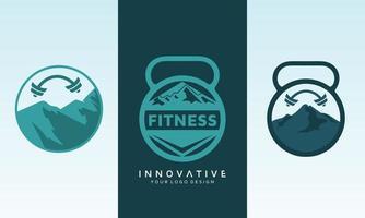 montanha fitness conjunto de logotipo de vetor