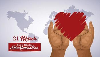 pôster do dia internacional pare o racismo com as mãos levantando o coração vetor