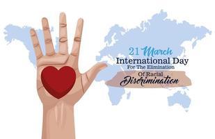 cartaz do dia internacional pare o racismo com a mão e o coração vetor