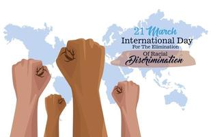 pôster do dia internacional pare o racismo com as mãos e o planeta Terra vetor