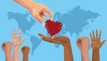 pôster do dia internacional pare o racismo com a mão dando coração vetor