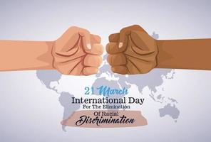 pôster do dia internacional pare o racismo com o golpe de punho de mãos vetor