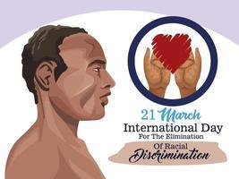 pôster do dia internacional pare o racismo com perfil de homem afro vetor
