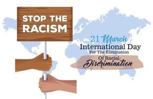 pôster do dia internacional pare o racismo com as mãos levantando bandeira vetor