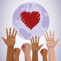 cartaz do dia internacional pare o racismo com as mãos e o coração do planeta vetor