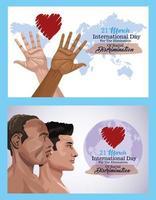 pôster do dia internacional pare o racismo com perfis de homens inter-raciais vetor