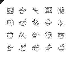 Simples conjunto de ícones de linha de cozinha para o site e aplicativos móveis. vetor