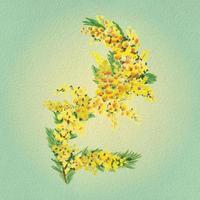 galho de salgueiro com flores e folhas em estilo aquarela vetor