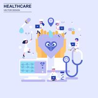 Estilo azul liso do conceito de projeto da medicina e dos cuidados médicos com caráter pequeno decorado dos povos.