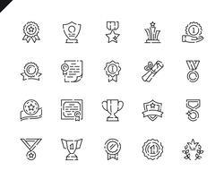 Conjunto simples prêmios ícones de linha para o site e aplicativos móveis. vetor
