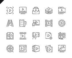 Conjunto simples de ícones de linha de conteúdo de vídeo para o site e aplicativos móveis. vetor