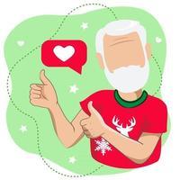 um homem com barba branca levanta o polegar vetor