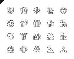 Ícones de linha simples trabalho em equipe do conjunto para o site e aplicativos móveis. vetor
