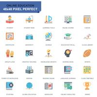 Conjunto simples de educação e conhecimento plano ícones para site e aplicativos móveis