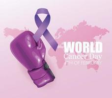 pôster do dia mundial do câncer com boxe de luvas e fita vetor