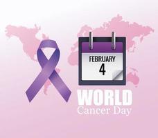 pôster do dia mundial do câncer com calendário e fita vetor