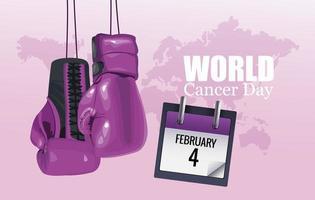 pôster do dia mundial do câncer com luvas de boxe e calendário vetor