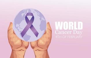 pôster do dia mundial do câncer com as mãos e fita vetor