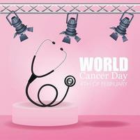 pôster do dia mundial do câncer com estetoscópio e lâmpadas vetor