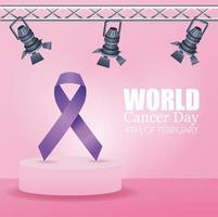 pôster do dia mundial do câncer com fita e lâmpadas vetor