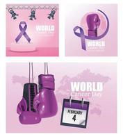 ícones de cartazes do dia mundial do câncer vetor