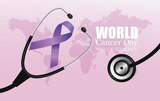 pôster do dia mundial do câncer com estetoscópio e fita vetor