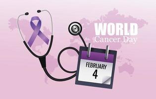 pôster do dia mundial do câncer com calendário e estetoscópio vetor