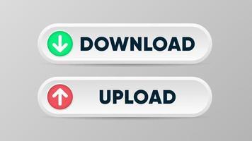 botão de download e upload em estilo 3D com símbolos de seta vetor