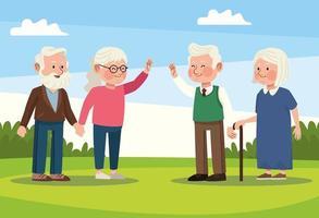 cena de pessoas idosas vetor