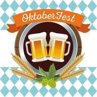 feliz celebração da oktoberfest com cerveja e moldura circular de cevada vetor