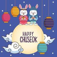 feliz celebração chuseok com casal de coelhos e lâmpadas penduradas na lua vetor